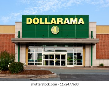 DARTMOUTH, CANADA - July 12, 2015: Dollarama storefront. Dollarama is a Canadian retail chain, selling items for three dollars and less.