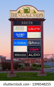 Dartmouth Crossing, Canada - May 21, 2015: The Village Shops Sign at daybreak. The Village Shops is a collection of retail outlets located at Dartmouth Crossing, Nova Scotia.