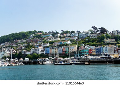 Dartmouth, Devon, United kingdom 25 may, 2018. boats and yachts, colorful houses, hotel on Dart river on summer day