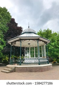 Dartmouth, Devon, United Kingdom July 7 2019. Historical bandstand grade 2 listed building regularly in use especially during Regatta Week. Hexagonal shape of cast iron construction on brick plinth.