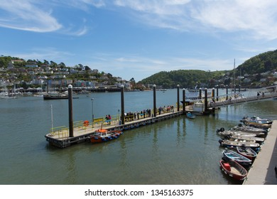 DARTMOUTH, DEVON-MAY 17th 2018: Beautiful sunshine and calm weather attracted visitors to the jetty for boat trips at Dartmouth, Devon on Thursday 17th May 2018