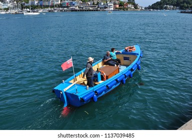 DARTMOUTH, DEVON/UK - June 23, 2018. Small blue ferry boat, River Dart, Dartmouth, South Devon, England