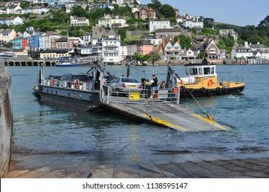 DARTMOUTH, DEVON/UK - June 23, 2018. Lower ferry between Dartmouth and Kingswear, South Devon, England