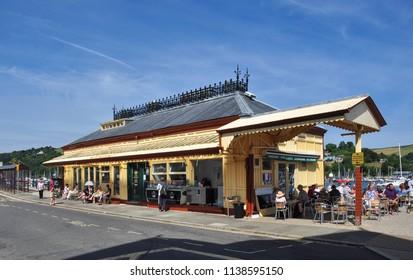 DARTMOUTH, DEVON/UK - June 23, 2018. Old station building restaurant, Dartmouth, South Devon, England