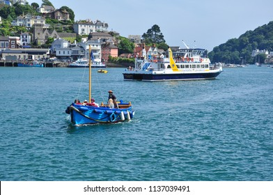 DARTMOUTH, DEVON/UK - June 24, 2018. Large and small boats on the River Dart, Dartmouth, South Devon, England
