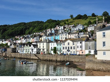 DARTMOUTH, DEVON/UK - June 24, 2018. Waterfront buildings and old quay, Bayard's Cove, Dartmouth, South Devon, England