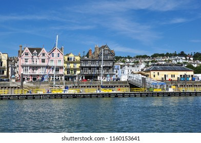 DARTMOUTH, DEVON/UK - June 25, 2018. River Dart waterfront and buildings on South Embankment, Dartmouth, South Devon, England