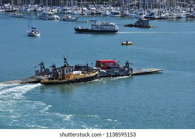 DARTMOUTH, DEVON/UK - June 27, 2018. Lower ferry between Dartmouth and Kingswear, South Devon, England