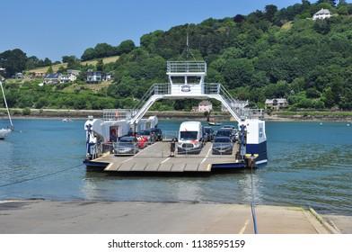 DARTMOUTH, DEVON/UK - June 27, 2018. Higher (Upper) Ferry arriving at slipway, Dartmouth, South Devon, England
