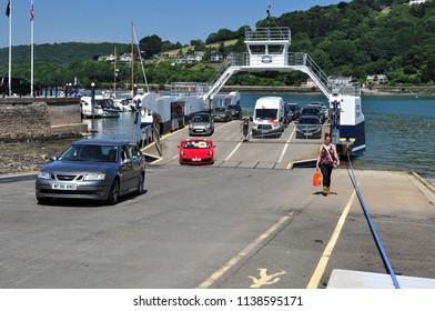 DARTMOUTH, DEVON/UK - June 27, 2018. Higher (Upper) Ferry unloading vehicles, Dartmouth, South Devon, England