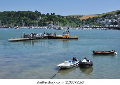 DARTMOUTH, DEVON/UK - June 29, 2018. Lower ferry between Dartmouth and Kingswear, South Devon, England