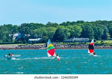DARTMOUTH, MASSACHUSETTS -  JUNE 16, 2017 Sailboats Colorful Spinnakers Racing Padanaram Harbor  Buzzards Bay Dartmouth Masschusetts.
