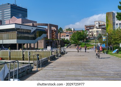 Dartmouth, Nova Scotia, Canada - 10 August 2021: People enjoy sunny day at Dartmouth Harbourfront