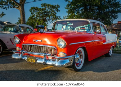 Dartmouth, Nova Scotia, Canada - August 16, 2018 : 1955 Chevrolet Bel Air at weekly A&W Cruise-In at Woodside Ferry terminal parking lot in Dartmouth.