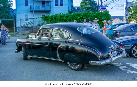 Dartmouth, Nova Scotia, Canada - August 16, 2018 : 1950 Chevy Fleetline Sedan DeLuxe at weekly A&W Cruise-In at Woodside Ferry terminal parking lot in Dartmouth.