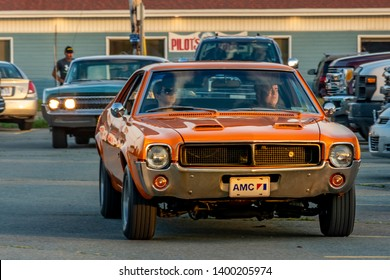 Dartmouth, Nova Scotia, Canada - August 16, 2018 : 1969 AMC Javelin arriving  at weekly A&W Cruise-In, Woodside Ferry Terminal parking lot, Dartmouth, Nova Scotia.