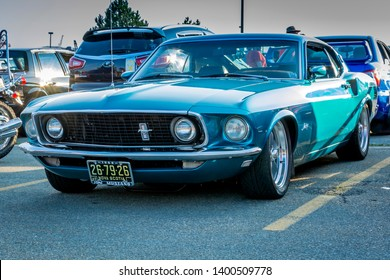 Dartmouth, Nova Scotia, Canada - August 16, 2018 : 1969 Ford Mustang at A&W weekly Cruise-In, Woodside Ferry Terminal parking lot, Dartmouth Nova Scotia.
