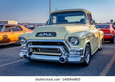 Dartmouth, Nova Scotia, Canada -  August 16, 2018 : Classic 1955 GMC pickup truck at A&W weekly summer  cruise-in, Woodside Ferry Terminal parking lot, Dartmouth Nova Scotia.
