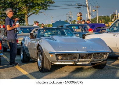 Dartmouth, Nova Scotia, Canada -  August 16, 2018 : Classic 1969 Chevrolet Corvette Stingray at A&W weekly summer  cruise-in, Woodside Ferry Terminal parking lot, Dartmouth Nova Scotia.