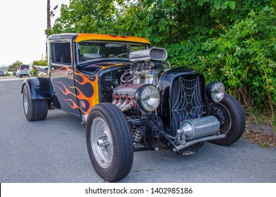 Dartmouth, Nova Scotia, Canada - August 3, 2017 : Hot rod pickup truck on display at weekly A&W Cruise-In at Woodside Ferry Terminal Parking lot, Dartmouth, Nova Scotia.