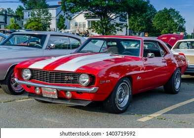 Dartmouth, Nova Scotia, Canada - August 3, 2017 : 1969 Chevy Camaro Z/28 on display at summer weekly A&W Cruise-in at Woodside Ferry parking lot, Dartmouth, Nova Scotia.