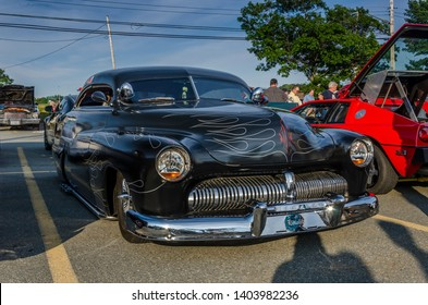 Dartmouth, Nova Scotia, Canada - August 3, 2017 :  Customized 1950 Mercury at summer weekly A&W Cruise-In, Woodside Ferry Terminal parking lot, Dartmouth Nova Scotia.