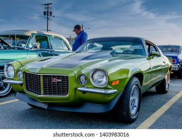 Dartmouth, Nova Scotia, Canada - August 3, 2017 : 1970s Chevrolet Camaro  at summer weekly A&W Cruise-In, Woodside Ferry Terminal parking lot, Dartmouth Nova Scotia.