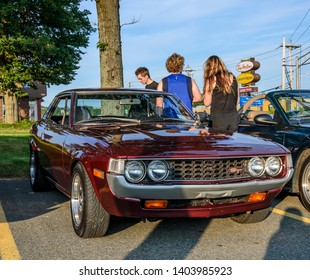 Dartmouth, Nova Scotia, Canada - August 3, 2017: 1976 Toyota Celica ST at the weekly summer A&W Cruise-in, Woodside Ferry Terminal parking lot Dartmouth, Nova Scotia.