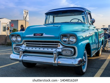 Dartmouth, Nova Scotia, Canada - August 3, 2017 : Beautiful 1958 Chevy Apache Cameo pickup truck on display at weekly summer  A&W Cruise-in at Woodside Ferry parking lot.