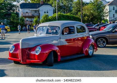 Dartmouth, Nova Scotia, Canada - August 10, 2017 :  Mildly customized 1940 Ford Tudor at weekly A&W summer cruise-in at Woodside Ferry Terminal parking lot, Dartmouth Nova Scotia.