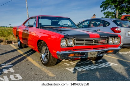 Dartmouth, Nova Scotia, Canada - August 10, 2017 : 1969 Plymouth Roadrunner at weekly A&W summer cruise-in at Woodside Ferry Terminal parking lot, Dartmouth Nova Scotia.