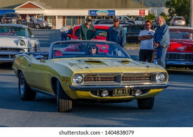 Dartmouth, Nova Scotia, Canada - August 10, 2017 :  1970 Plymouth Cuda at weekly A&W summer cruise-in at Woodside Ferry Terminal parking lot, Dartmouth Nova Scotia.