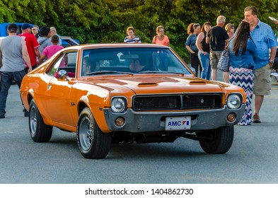 Dartmouth, Nova Scotia, Canada - August 10, 2017 : 1969 American Motors Javelin muscle car at weekly A&W summer cruise-in at Woodside Ferry Terminal parking lot, Dartmouth Nova Scotia.