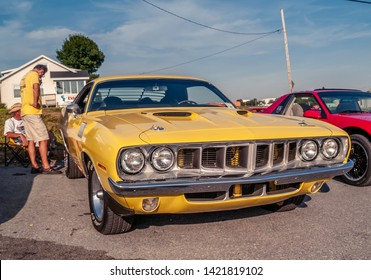 Dartmouth, Nova Scotia Canada - August 20, 2009 : 1971 Plymouth Cuda at A&W summer weekly cruise-in at Woodside Ferry Terminal, Dartmouth.