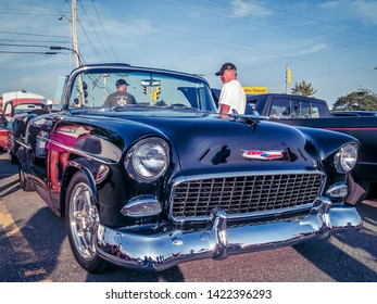 Dartmouth, Nova Scotia, Canada - August 20, 2009 : Classic 1955 Chevrolet Bel Air convertible at  Annual A&W Community Cruise Event August 20, 2009, Woodside Ferry Terminal parking lot, Dartmouth.