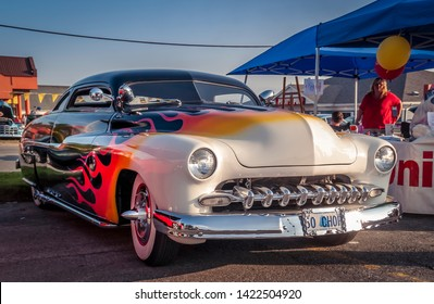 Dartmouth, Nova Scotia Canada - August 20, 2009 : 1950 Mercury customized car with wild flame paint at A&W summer weekly cruise-in, Woodside Ferry Terminal, Dartmouth.
