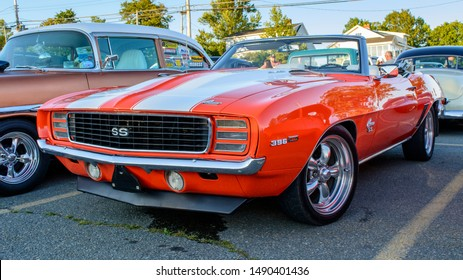 Dartmouth, Nova Scotia, Canada - August 22, 2019 : 1969 Chevy Camaro Super Sport convertible at weekly summer A&W Cruise-In at Woodside ferry terminal parking lot.