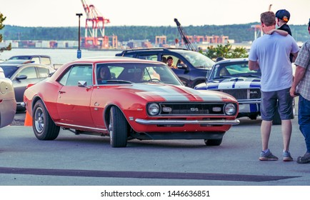 Dartmouth, Nova Scotia, Canada - July 4, 2019 : 1968 Camaro SS at weekly summer A&W Cruise-In at Woodside ferry terminal parking lot.