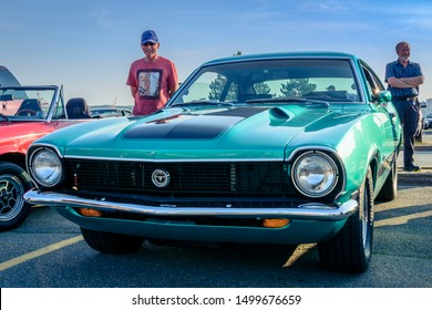 Dartmouth, Nova Scotia, Canada - July 4, 2019 : 1973 Ford Maverick at weekly summer A&W Cruise-In at Woodside ferry terminal parking lot.