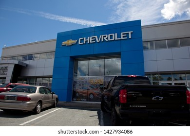 Dartmouth, Nova Scotia, Canada- June 15, 2019: Chevrolet Buick GMC business entrance by the Steele group of companies