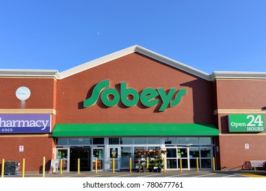 Dartmouth, NS, Canada - July 31, 2017: Sobeys grocery store on Tacoma Drive.  Sobeys is the second largest food retailer and operates, under various, banners across Canada.