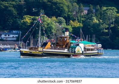 DARTMOUTH, UNITED KINGDOM - AUGUST 28, 2015: KIngswear Castle Paddle Steamer. The Kingswear Castle runs Visitor Pleasure Cruises on the River Dart at Kingswear and Dartmouth, Devon