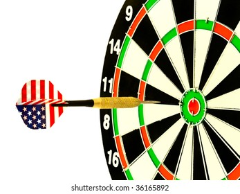 darts arrow flying in the center of dartboard against the white background