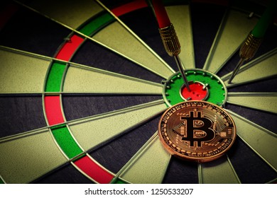 Darts arrow hitting on dartboard target Business investment that rely on precision away be alert to success so game on vintage tone