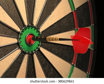 Darts arrow in the target center, darts in bull's eye close up. Success hitting concept 3d illustration