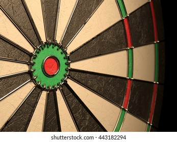 Darts board empty goal target competition realistic, no dart arrow hitting center. 3d rendering illustration