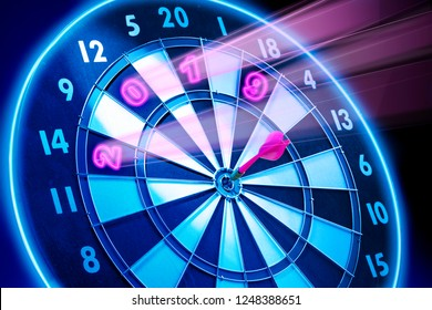 Darts board with glowing 2019 numbers. 2019 Goals. Happy New Year 2019