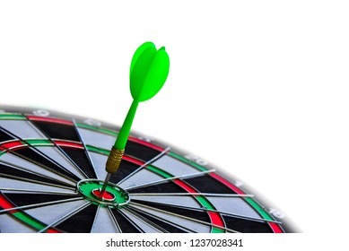 Darts hitting on Dart board target concept isolated on white background