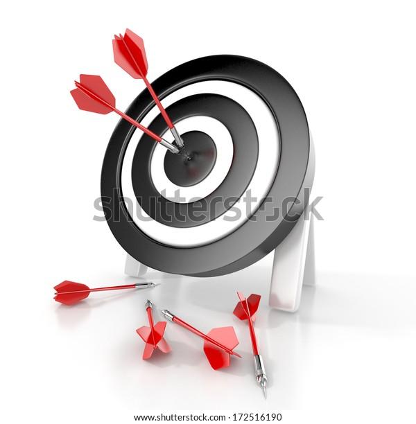 Darts hitting a target. 3d concept