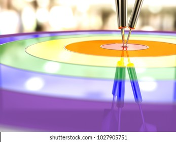 Darts hitting in the target, LGBT and Success concept. 3D Render.